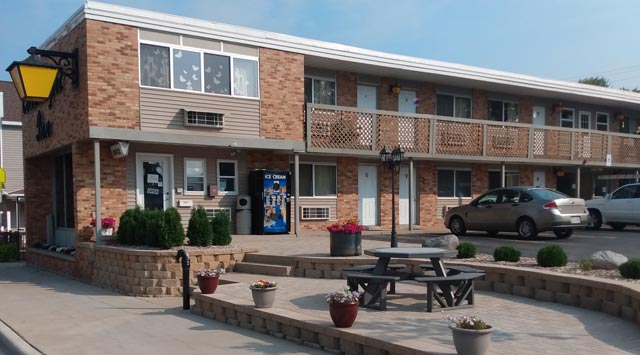 Coachlight Inn in Oconto Falls, WI with updated outdoor patio area